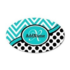 Teal Chevron Black Dots Mono Wall Decal