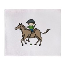 Horse Polo Throw Blanket