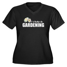 Rather Be Gardening Women's Plus Size V-Neck Dark