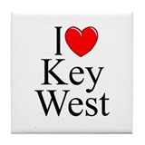 """I Love Key West"" Tile Coaster"