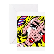 Popart Girl Greeting Cards