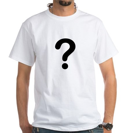 black question mark White T-Shirt