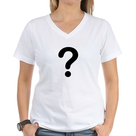 black question mark Women's V-Neck T-Shirt