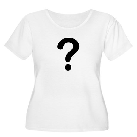 black question mark Women's Plus Size Scoop Neck