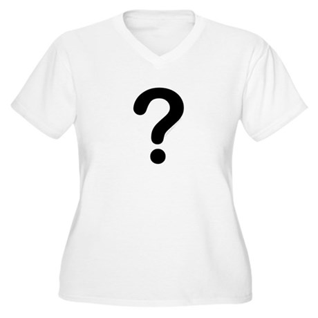 black question mark Women's Plus Size V-Neck T-Sh