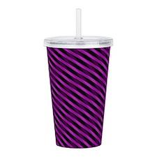Purple Stripes Acrylic Double-Wall Tumbler