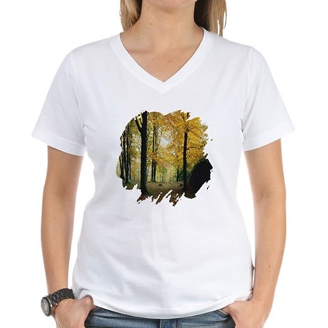 Autumn Woods Women's V-Neck T-Shirt