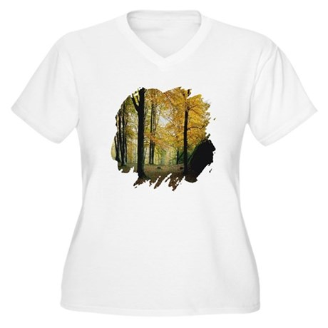 Autumn Woods Women's Plus Size V-Neck T-Shirt
