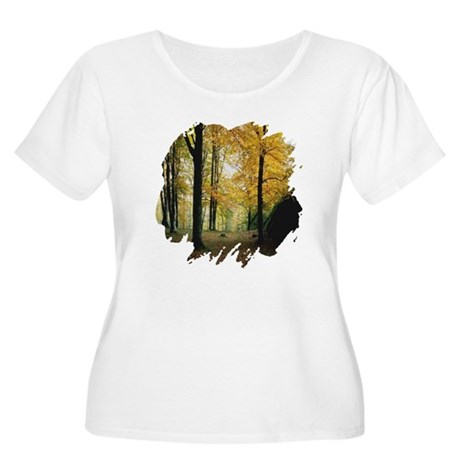 Autumn Woods Women's Plus Size Scoop Neck T-Shirt