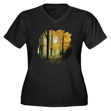 Autumn Woods Women's Plus Size V-Neck Dark T-Shirt