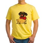 Pug with a bow Yellow T-Shirt