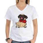 Pug with a bow Women's V-Neck T-Shirt