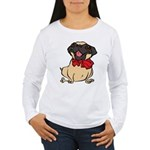 Pug with a bow Women's Long Sleeve T-Shirt