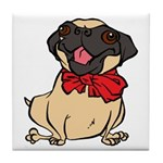 Pug with a bow Tile Coaster