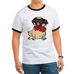 Pug with a bow Ringer T
