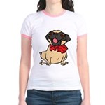 Pug with a bow Jr. Ringer T-Shirt