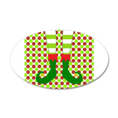 Christmas Elf's Feet on Polka Dots Wall Decal