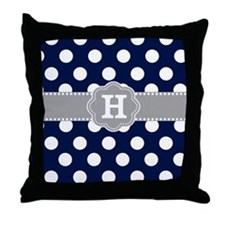 Navy Gray Polka Dots Monogram Throw Pillow