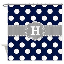 Navy Gray Polka Dots Monogram Shower Curtain