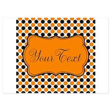 Personalizable Orange and Black Dots Invitations