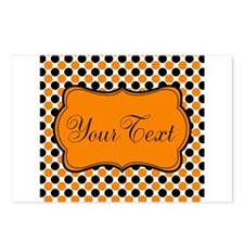Personalizable Orange and Black Dots Postcards (Pa