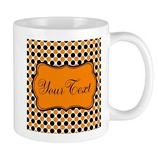 Personalizable Orange and Black Dots Mugs