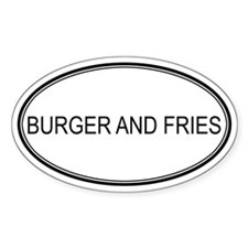 BURGER AND FRIES (oval) Oval Decal