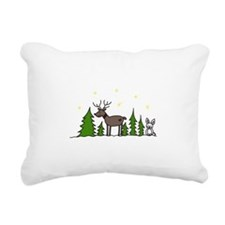 Reindeer Scene Rectangular Canvas Pillow