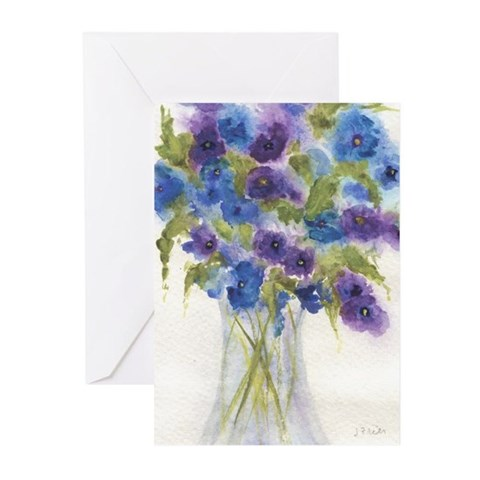 Blue Violet Pansy Flowers Greeting Cards