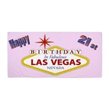 Happy 21st Las Vegas Birthday Beach Towel