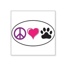 "Unique Peace love paws Square Sticker 3"" x 3"""