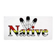 Native text with Eagle Feathers Beach Towel