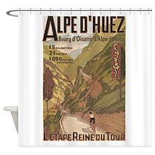 Alpe D' Huez, Bicycle, Vintage Shower Curtain