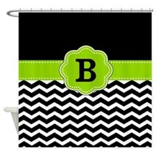 Black Lime Green Chevron Monogram Shower Curtain