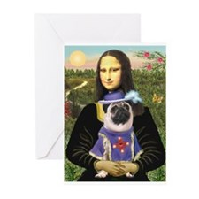 Mona Lisa & Sir Pug Greeting Cards (Pk of 10)