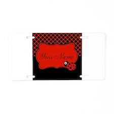 Personalizable Ladybug Polk Dots Aluminum License