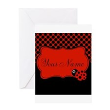 Personalizable Ladybug Polk Dots Greeting Cards