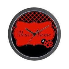 Personalizable Ladybug Polk Dots Wall Clock