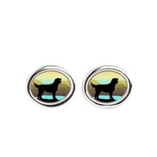 Labradoodle By The Sea Oval Cufflinks