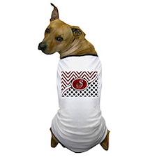 Red and Black Chevron Dots Dog T-Shirt