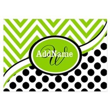 Monogrammed Chevron Polka Dots Invitations