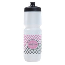 Black White Chevron Bright Pink Mono Sports Bottle