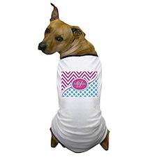 Blue Pink Chevron Dots Personalized Dog T-Shirt