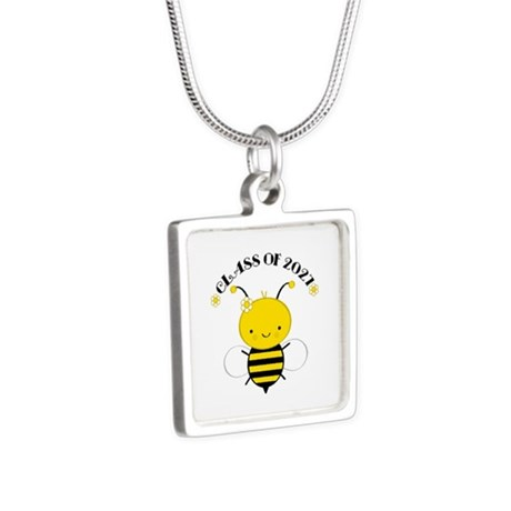 Class of 2027 bee Silver Square Necklace