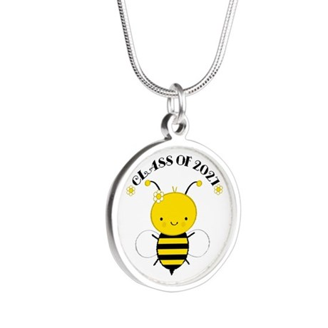 Class of 2027 bee Silver Round Necklace