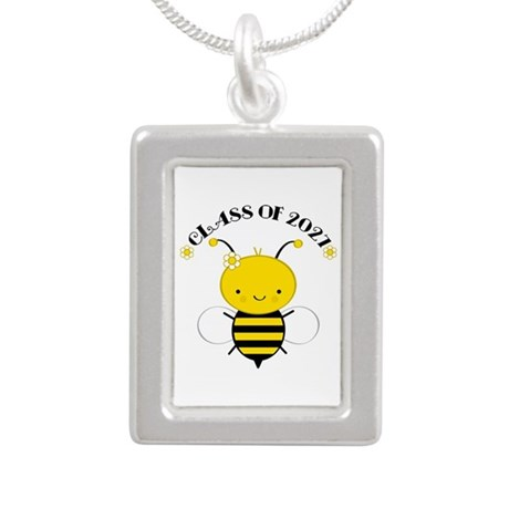 Class of 2027 bee Silver Portrait Necklace