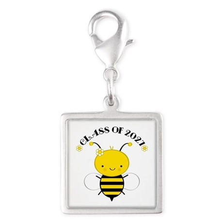 Class of 2027 bee Silver Square Charm