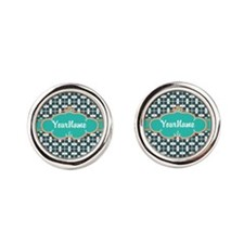 Aqua Turquoise Custom Personalized Round Cufflinks