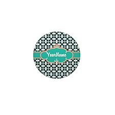 Aqua Turquoise Custom Personalized Mon Mini Button
