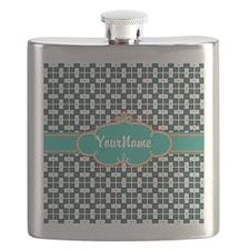 Aqua Turquoise Custom Personalized Monogram Flask